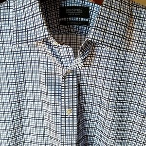 Nordstrom Shirt Mens Shop 100% Cotton Blue Black